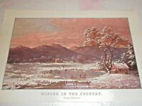 Vintage CURRIER & IVES Calendar Reprint from Litho APRIL 1961 The Travelers