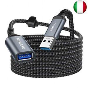 Nimaso 3M Cavo Prolunga USB 3.0, Cavo USB Maschio e Femmina 5Gbps Cavo