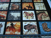 3 Yards Cotton Fabric - Quilting Treasures Unbridled Horse Western Squares Black