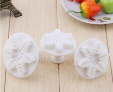 3pcs Snowflakes Cookie Fondant Gum Paste Cutter Plunger  Set