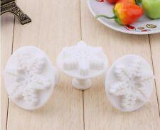3pcs Snowflakes Cookie Fondant Gum Paste Cutter Plunger  Set