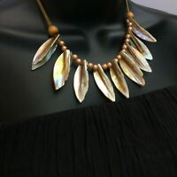 Fabulous vintage very attractive Mother of pearl Bib Necklace 50s
