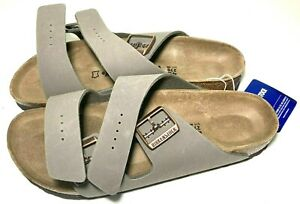 Birkenstock Arizona Dual Buckle Stone Sandals Womens 11 Mens 9 Slides Narrow 42