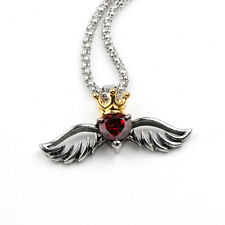 King Crown Angel Wings Flying Heart Necklace Red Crystal with gift box