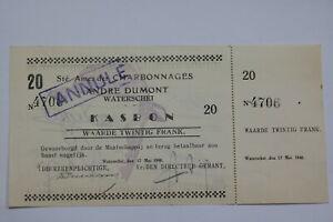 BANKNOTE BELGIUM 1940 CHARBONNAGES CANCELLED 20 FRANCS SCARCE B21 BEL90