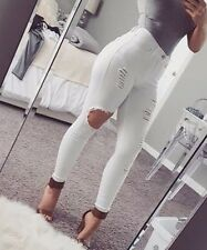 White Sexy High Rise Waist Destroyed Stretch Skinny Pants Jeans Size 1