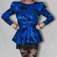 "Blue Sexy Silk Mini Dress Tunic Top Size 10 UK, 32"" Bust"