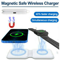 2 in1 Magnet Folding Dual Magnetic Wireless Charger for iphone 12 iwatch