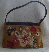 PRESTON & YORK Tan Genuine Leather Shoulder Hand Bag Beaded Embroidery Flowers