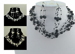 FAUX PEARL CREAM, WHITE OR BLACK FLOATING CHOKER NECKLACE & EARRING SET