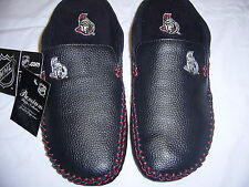 NHL SENATORS LEATHER slippers S/G 8 (6) Pantoufles CUIRE LNH SÉNATEURS