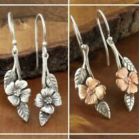 Vintage 925 Silver Flower Earrings Ear Hook Dangle Drop Women Wedding Jewelry