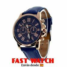 02a5f1d1ec04 Reloj mujer GENEVA números romanos. OFERTA 4X3. Color azul. Caja dorada.
