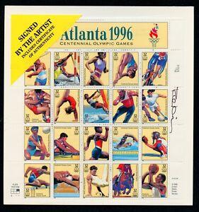 US Scott,3068 Atlanta Olympics 1996 sheet of 20 32c Mint Signed by Artist