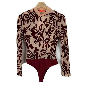 Showpo Bodysuit Womens Size L Petite Multicoloured Floral Long Sleeve 20.03