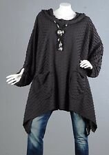 Kaschierwunder Pullover Tunika Longpullover Top Bluse Shirt Wolle Longtop 56 58