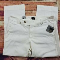 Mossimo Cropped Slim Trousers Chino Pants Womens Size 10 White Low Rise Stretch