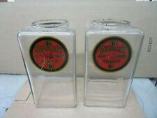 2 Nice Original Duplex Log Cabin Glass Globes w/ Decals for Peanut Vendors.