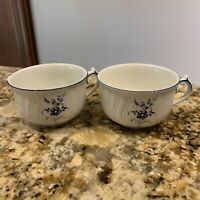 Vieux Luxembourg by Villeroy & Boch. Blue & White Floral Flat Tea Cup. Set of 2.