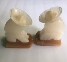 VINTAGE MARBLE SOMBRERO HAT MEXICAN SIESTA SCULPTED CARVED BOOKENDS BOOK ENDS