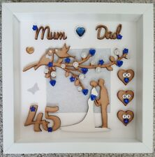 Personalised 45th sapphire wedding anniversary 3D gift frame mum & dad