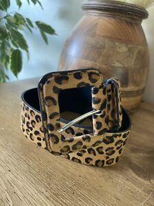 Ladies Zara Leather Leopard Fur Print Waist Belt Size 85 32UK