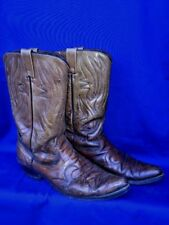 Vintage RODEO COWBOY Boots Pointed Toe Scrollwork LEATHER Mens Shoes Sz 10.5