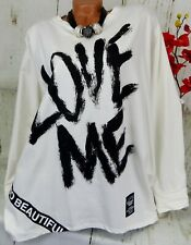 Shirt Tunika T-Shirt Bluse Top Oversize Baumwolle Ballon Creme XXL 48 50 52