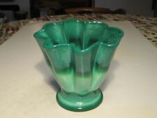Old 1930's Fenton Mongolian Green Slag Glass 8 Melon Ribbed Shaped Vase