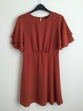 New Look Brown Short Sleeve Skater Dress Size 10