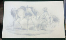 ARAB STALLION (HORSE) WITH ITS ARAB RIDER DETAILED PENCIL DRAWING 19TH CENTURY