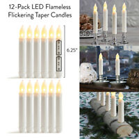 "12-Pack LED Flameless Flickering Taper Candles-6.25"" Warm White Battery Operated"