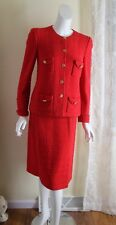 Castleberry S 4/6 Exquisite Classic Rich Gold Russian Red Knit Suit Skirt Jacket