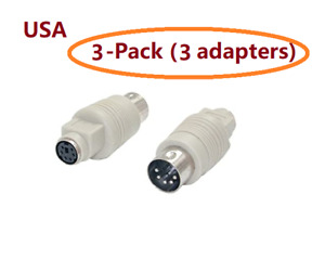 PTC 3pcs Keyboard Adapter PS2 6pin Female to AT 5pin DIN Male Adaptor Cable/Cord