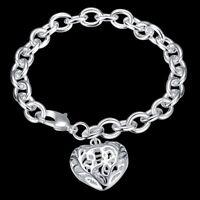 Stainless Steel Heart Charm Bracelet Silver