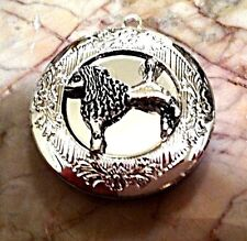 """STANDARD POODLE DOG PHOTO LOCKET SILVER PLATED, Sterling 18"""" Chain Necklace, PET"""