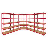 1 x Corner Racking Garage Shelving 4 x 90cm Bays Metal Heavy Duty MDF Shelves