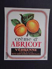 Ancienne étiquette CREME D'ABRICOT VEDRENNE Nuits Saint Georges french label