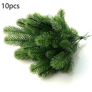 10Pcs Artificial Flower Fake Pine Branches Green Plants L0T8 Decor G7K1