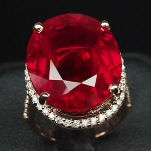 RUBY BLOOD RED OVAL 27.50 CT.SAPPHIRE 925 STERLING SILVER ROSE GOLD RING SZ 5.25