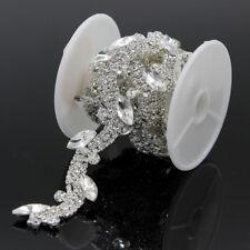 1yd Crystal Silver Clear Rhinestone Trims Chain Wedding Bridal Dress Belt 2.0 cm