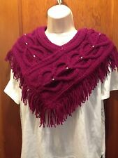 Hand Knit Women's  Winter  Scarf/Cowl  Rasberry  Heart Cables-Heart Beads