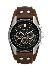 Fossil Mens CH2891 Coachman Chronograph Black Dial Brown Leather Band Watch