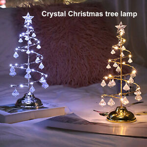 LED Crystal Christmas Tree Light Diamond Pendant Table Desk Lamp Xmas Home Decor
