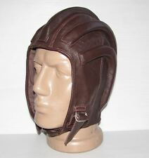 Vintage Brown Leather Ribbed Motorcycle Helmet  #9117