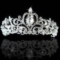 Bridal Princess Wedding Austrian Crystal Silver Tiara Crown Veil Hair Accessory