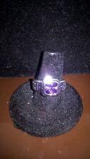 Stunning Silver Tone Amethyst Rhinestone Statement Ring, Fashion Jewelry, Size 7