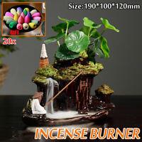 Ceramic Mountain Waterfall Backflow Smoke Incense Burner Censer Holder Office