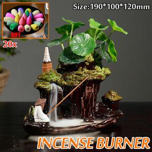 Ceramic Mountain Waterfall Backflow Smoke Incense Burner Censer Holder   &!