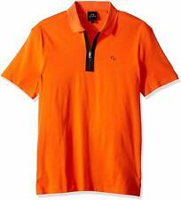 Armani Exchange Cotton POLO Tee SHIRT CONTRAST PROFILES Zipper A|X Logo NWT